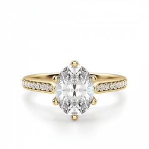 Кольцо золотое с овальным бриллиантом в 6 крапанах паве