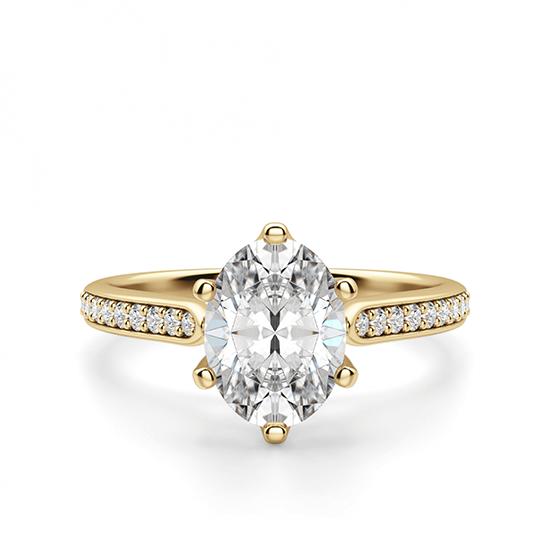 Кольцо золотое с овальным бриллиантом в 6 крапанах паве, Больше Изображение 1
