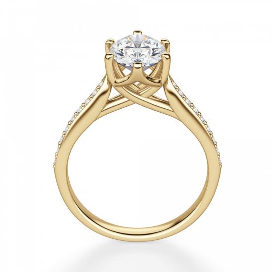 Кольцо золотое с овальным бриллиантом в 6 крапанах паве,  Больше Изображение 2