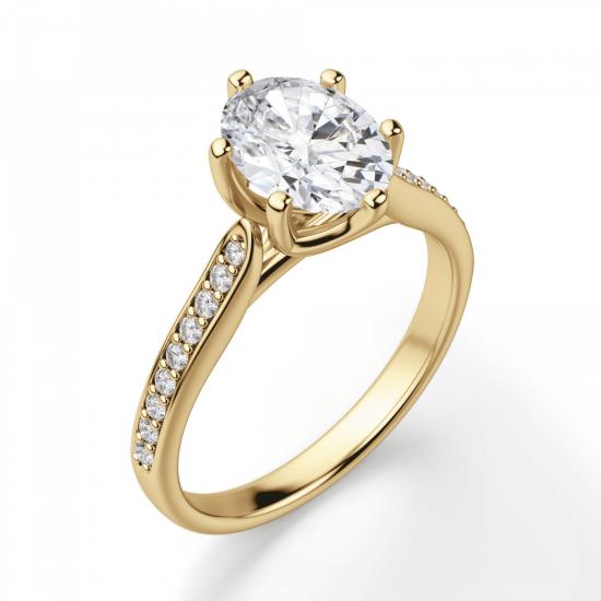 Кольцо золотое с овальным бриллиантом в 6 крапанах паве,  Больше Изображение 3