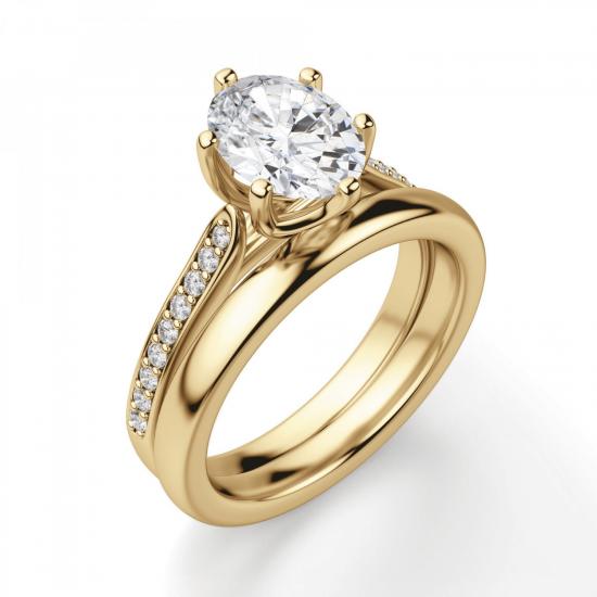 Кольцо золотое с овальным бриллиантом в 6 крапанах паве,  Больше Изображение 4