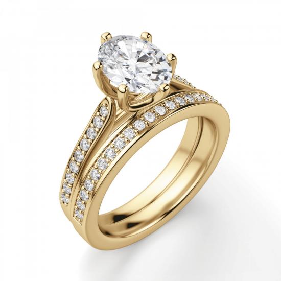 Кольцо золотое с овальным бриллиантом в 6 крапанах паве,  Больше Изображение 5