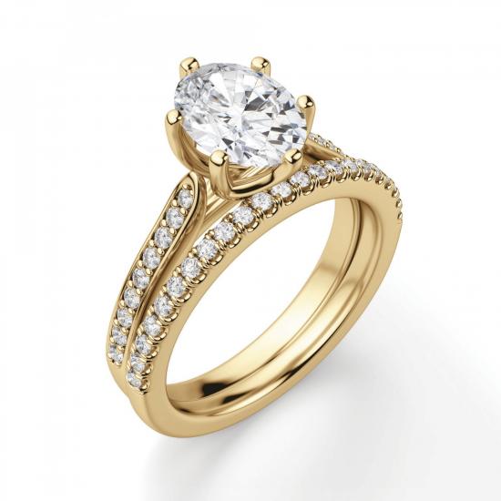 Кольцо золотое с овальным бриллиантом в 6 крапанах паве,  Больше Изображение 6