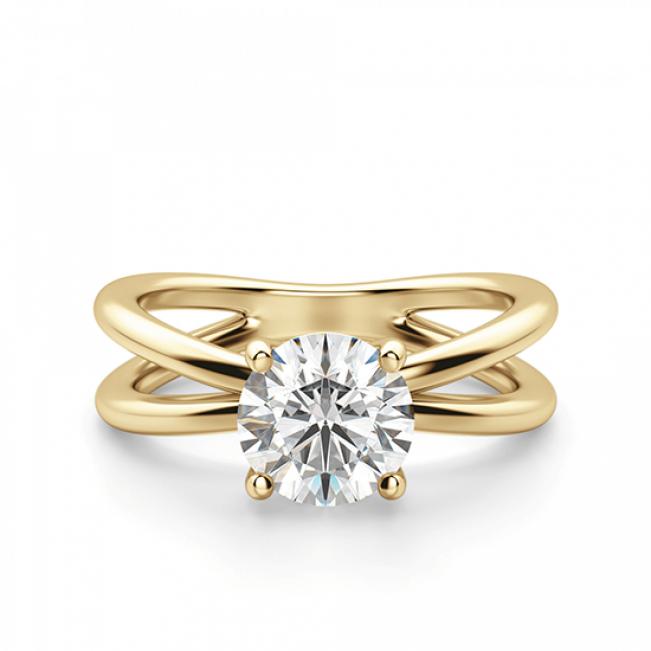Кольцо двойное с 1 круглым бриллиантом