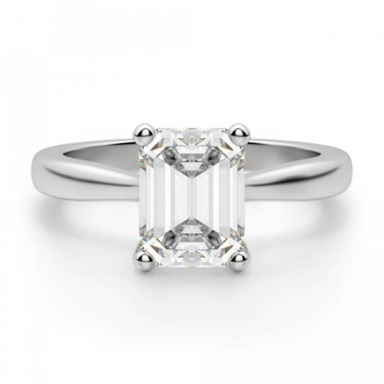 Кольцо классическое с бриллиантом эмеральд, Больше Изображение 1