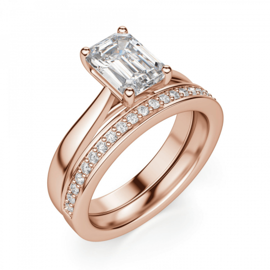 Кольцо с бриллиантом эмеральд,  Больше Изображение 5