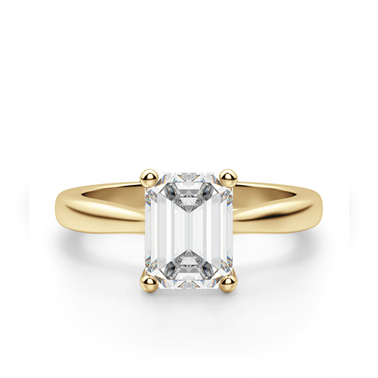 Кольцо золотое с бриллиантом эмеральд, Больше Изображение 1