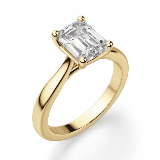 Кольцо золотое с бриллиантом эмеральд,  Больше Изображение 3