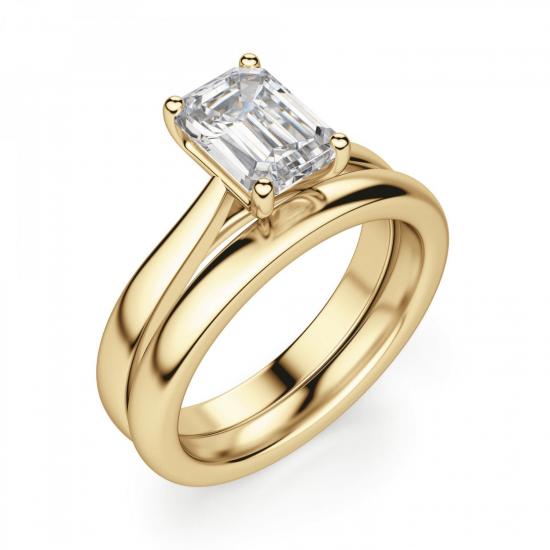 Кольцо золотое с бриллиантом эмеральд,  Больше Изображение 4