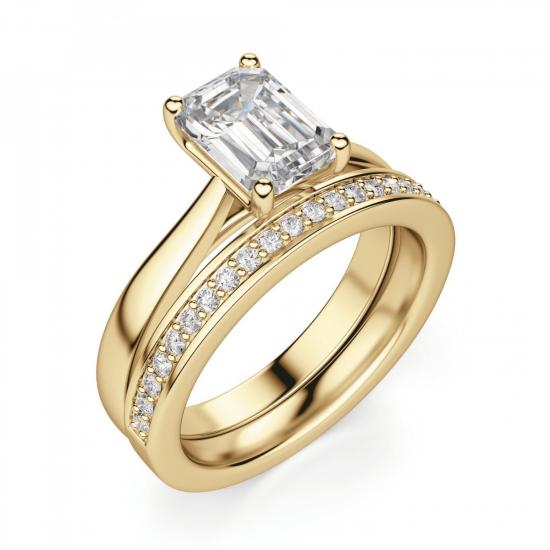 Кольцо золотое с бриллиантом эмеральд,  Больше Изображение 5