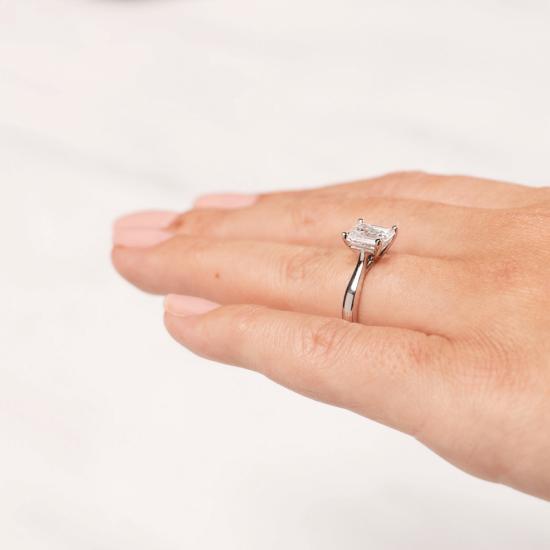 Кольцо классическое с бриллиантом эмеральд,  Больше Изображение 7
