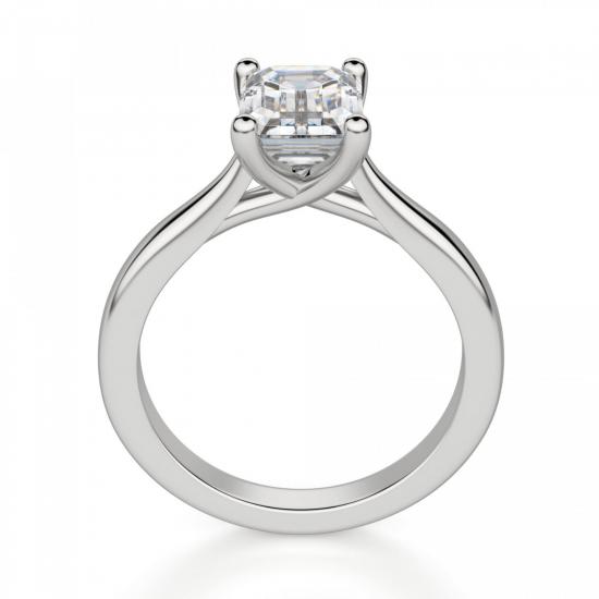 Кольцо классическое с бриллиантом эмеральд,  Больше Изображение 2