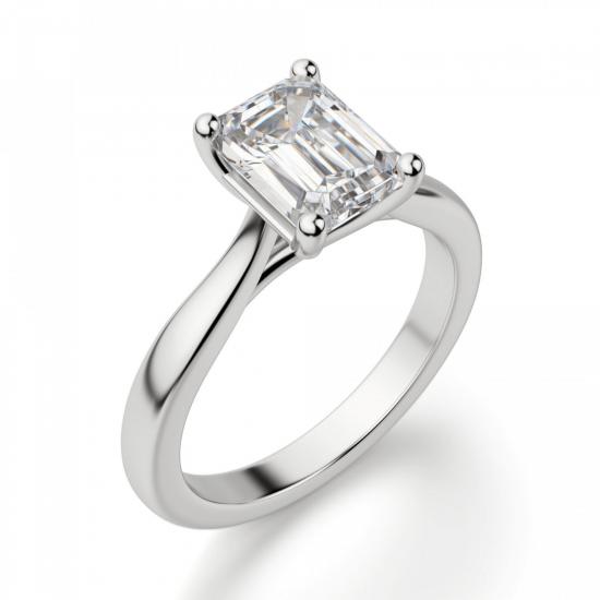 Кольцо классическое с бриллиантом эмеральд,  Больше Изображение 3