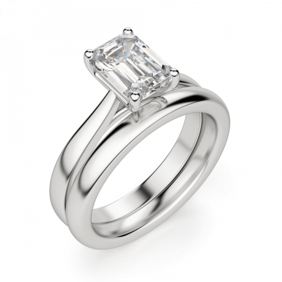 Кольцо классическое с бриллиантом эмеральд,  Больше Изображение 4