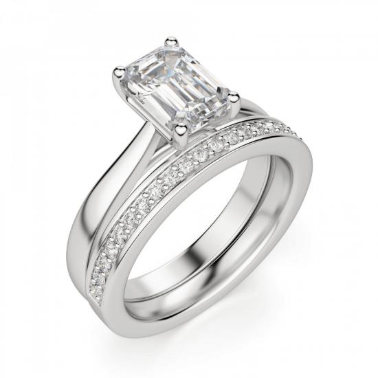Кольцо классическое с бриллиантом эмеральд,  Больше Изображение 5