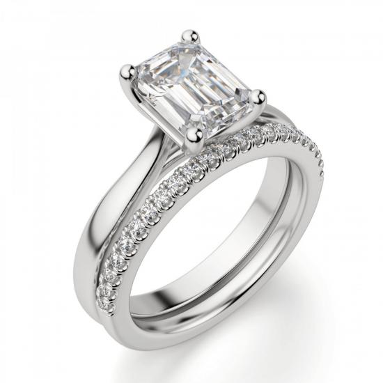 Кольцо классическое с бриллиантом эмеральд,  Больше Изображение 6