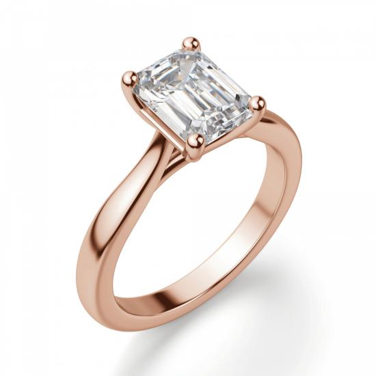 Кольцо с бриллиантом эмеральд,  Больше Изображение 3