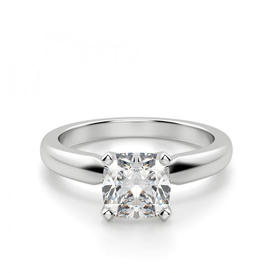 Кольцо классическое с бриллиантом кушон, Больше Изображение 1