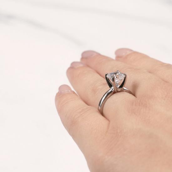 Кольцо классическое с бриллиантом кушон,  Больше Изображение 7