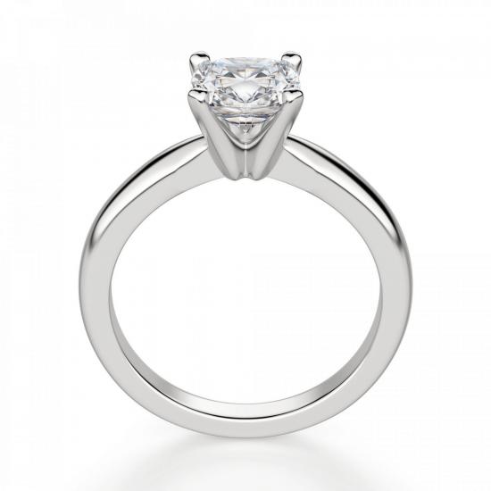 Кольцо классическое с бриллиантом кушон,  Больше Изображение 2