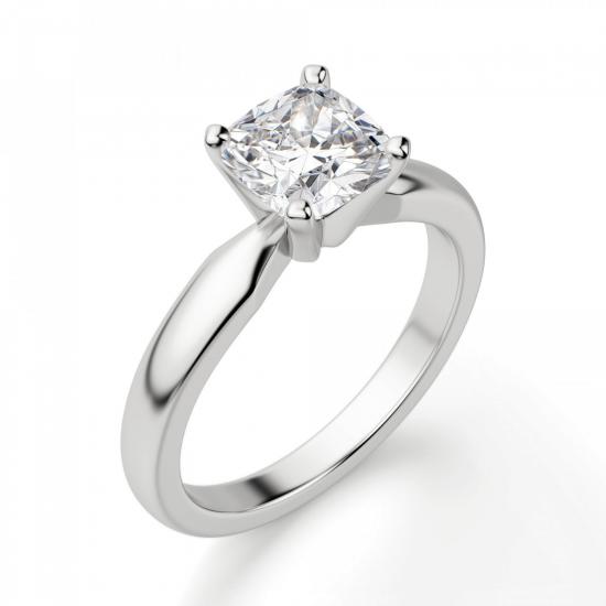 Кольцо классическое с бриллиантом кушон,  Больше Изображение 3