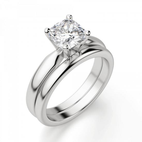 Кольцо классическое с бриллиантом кушон,  Больше Изображение 4