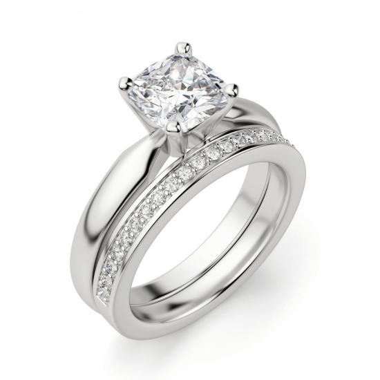 Кольцо классическое с бриллиантом кушон,  Больше Изображение 5