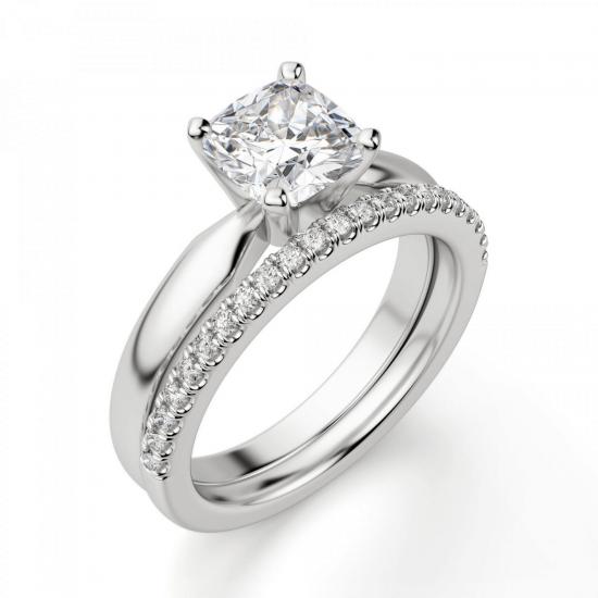 Кольцо классическое с бриллиантом кушон,  Больше Изображение 6