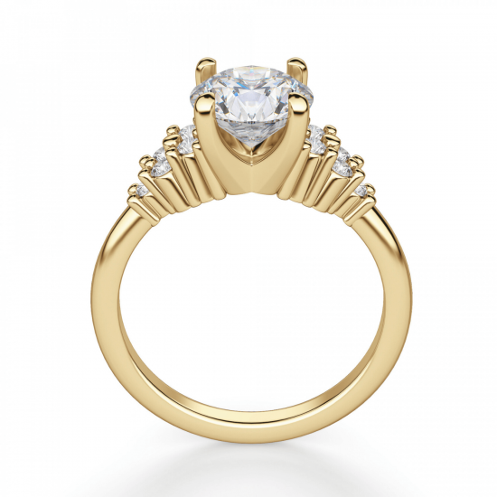 Кольцо золотое с круглым бриллиантами и боковым декором,  Больше Изображение 2