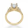 Кольцо золотое с круглым бриллиантами и боковым декором, Изображение 2