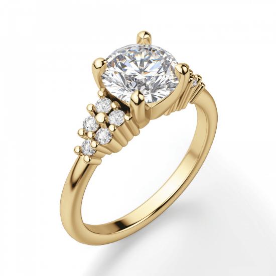 Кольцо золотое с круглым бриллиантами и боковым декором,  Больше Изображение 3