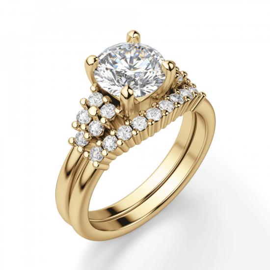 Кольцо золотое с круглым бриллиантами и боковым декором,  Больше Изображение 5