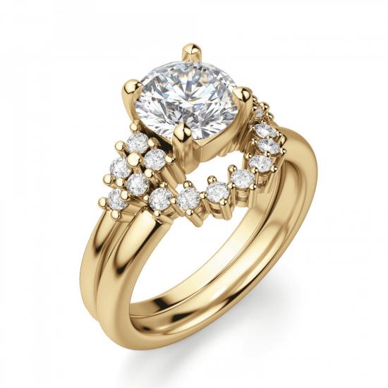 Кольцо золотое с круглым бриллиантами и боковым декором,  Больше Изображение 6