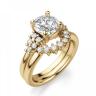 Кольцо золотое с круглым бриллиантами и боковым декором, Изображение 6