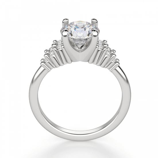 Кольцо с центральным бриллиантом и 5 бриллиантами по бокам,  Больше Изображение 2