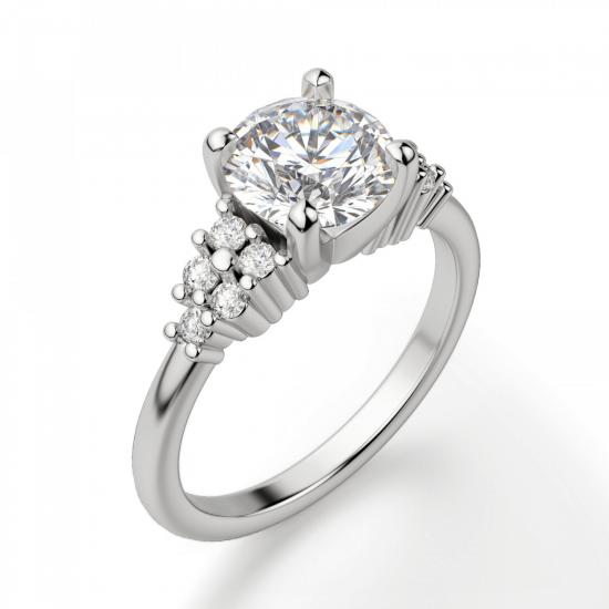 Кольцо с центральным бриллиантом и 5 бриллиантами по бокам,  Больше Изображение 3