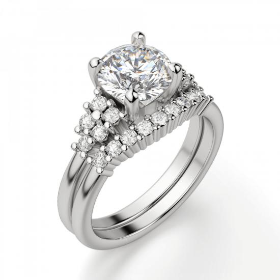Кольцо с центральным бриллиантом и 5 бриллиантами по бокам,  Больше Изображение 5