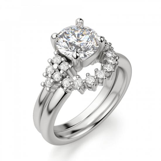 Кольцо с центральным бриллиантом и 5 бриллиантами по бокам,  Больше Изображение 6
