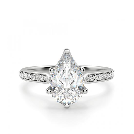 Кольцо с бриллиантом Груша и боковыми бриллиантами, Больше Изображение 1