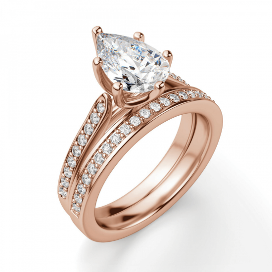 Кольцо с бриллиантами Груша,  Больше Изображение 5