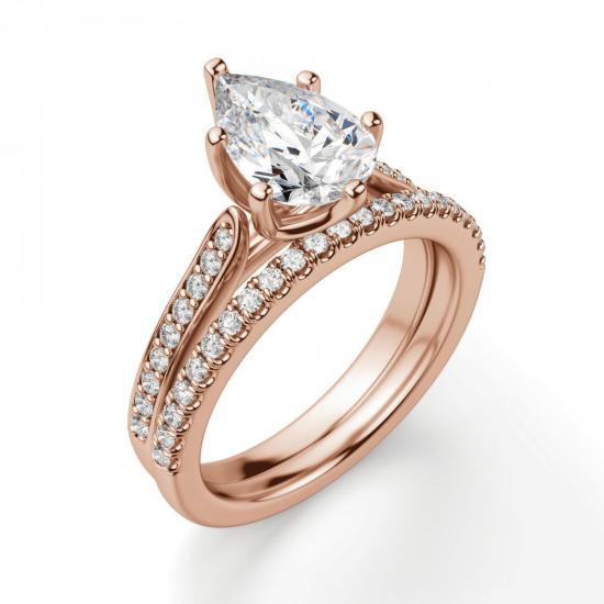 Кольцо с бриллиантами Груша,  Больше Изображение 6