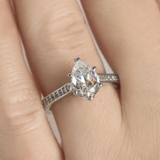 Кольцо с бриллиантами Груша,  Больше Изображение 7