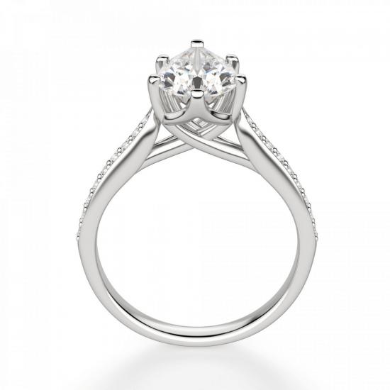 Кольцо с бриллиантом Груша и боковыми бриллиантами,  Больше Изображение 2