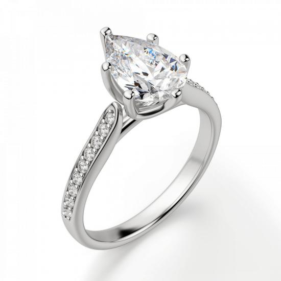 Кольцо с бриллиантом Груша и боковыми бриллиантами,  Больше Изображение 3