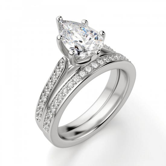 Кольцо с бриллиантом Груша и боковыми бриллиантами,  Больше Изображение 5