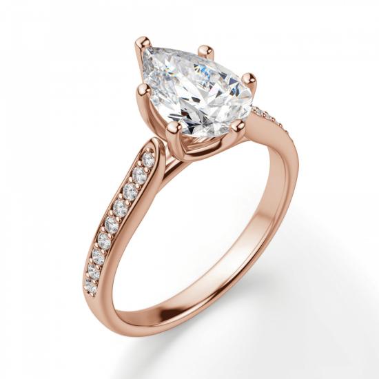 Кольцо с бриллиантами Груша,  Больше Изображение 3