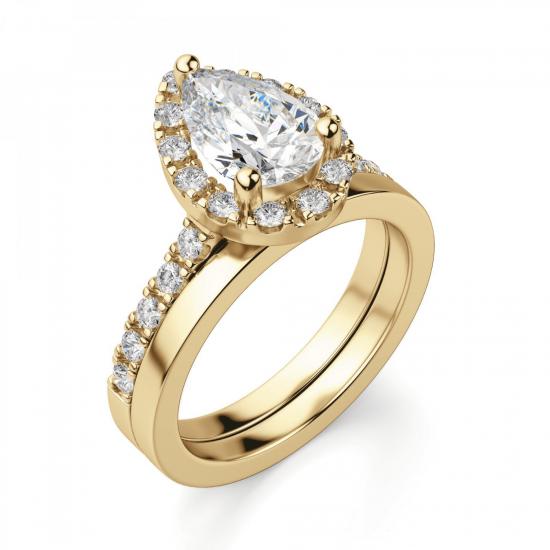 Кольцо из золота с бриллиантом груша в ореоле,  Больше Изображение 4