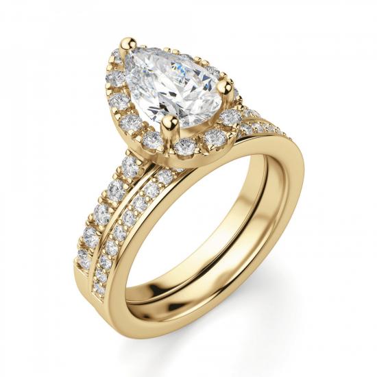Кольцо из золота с бриллиантом груша в ореоле,  Больше Изображение 5