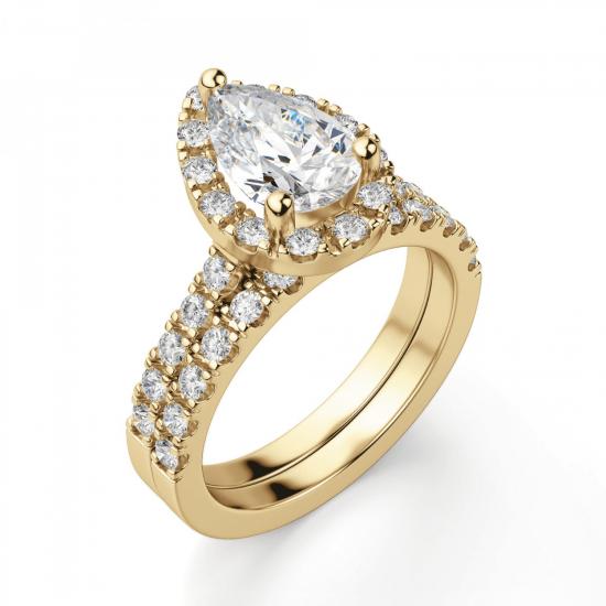 Кольцо из золота с бриллиантом груша в ореоле,  Больше Изображение 6