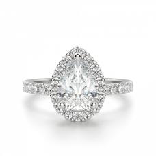 Кольцо с бриллиантом Груша в ореоле из мелких бриллиантов
